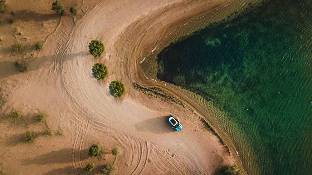 aerial photography of vehicle parked on beach near bushes